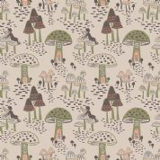 Lewis & Irene Enchanted Forest - 5093 - Toadstool Fairy Houses on Pale Beige - A187.1 - Cotton Fabric